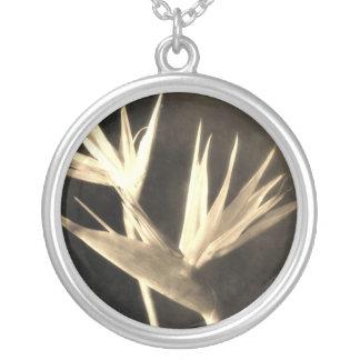 Cut Bird of Paradise Flowers 2 Antiqued Round Pendant Necklace