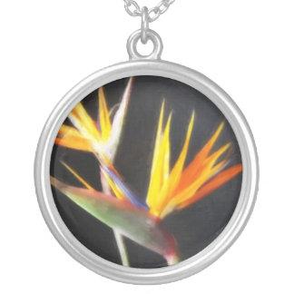 Cut Bird of Paradise Flowers 2 Painterly Round Pendant Necklace