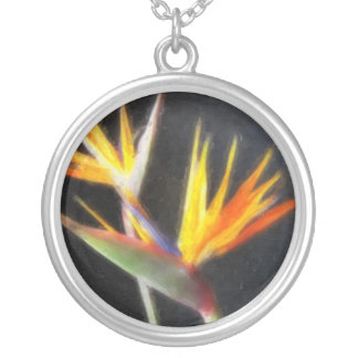 Cut Bird of Paradise Flowers 2 Watercolor Round Pendant Necklace