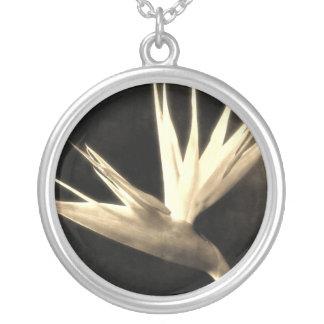 Cut Bird of Paradise Flowers 3 Antiqued Round Pendant Necklace