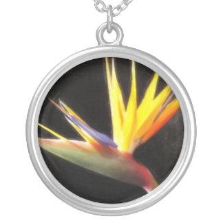 Cut Bird of Paradise Flowers 3 Painterly Round Pendant Necklace