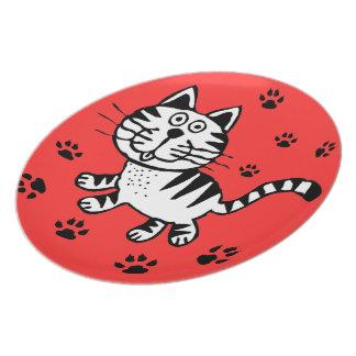 CUT CAT STEPING OUT   PLATTER DINNER PLATE