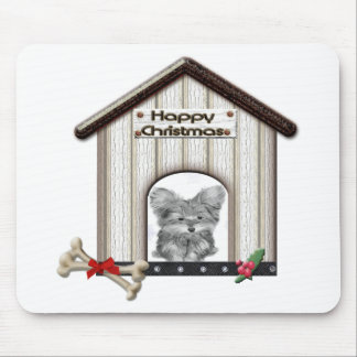 Cut Christmas Yorkie Dog Gift Mouse Pad