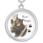 Cut, Custom Black Bear Bear Hugs, Personalized Necklace