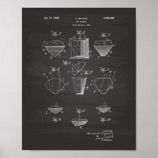 Cut Diamond 1935 Patent Art Chalkboard Poster
