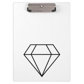 Cut Diamond Line Art, Modern Gemstone Clipboard