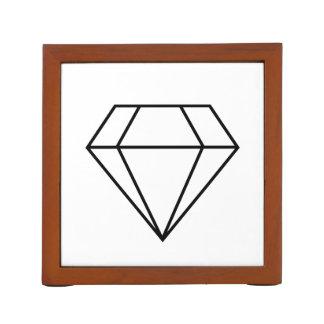 Cut Diamond Line Art, Modern Gemstone Pencil Holder