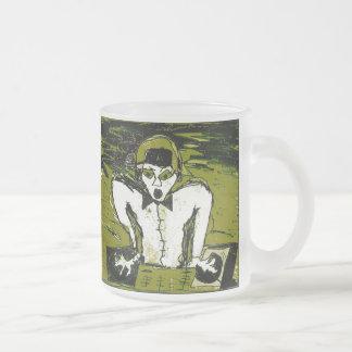 cut dj drawing graff frosted glass coffee mug