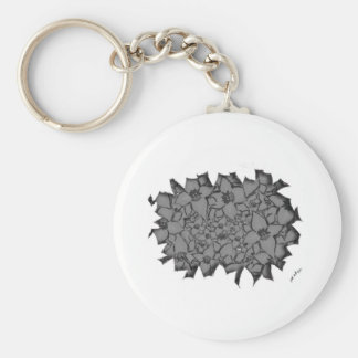 Cut Flowers Black and White Keychain