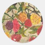cut flowers round stickers