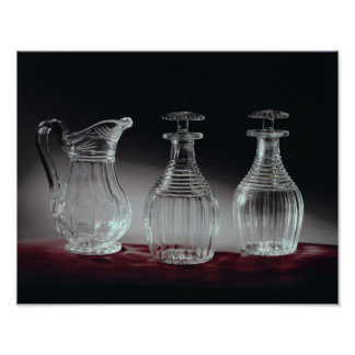 Cut glass decanters and jug, c.1840 poster