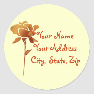 Cut golden rose, name, address label stickers