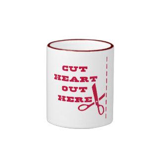 Cut Heart Out Here Ringer Coffee Mug