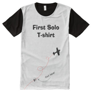 Cut here! First Solo, airplane student pilot All-Over-Print Shirt