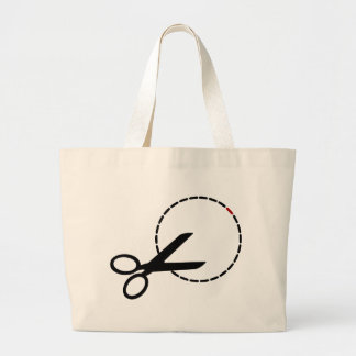 Cut here with scissors large tote bag