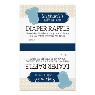 Cut in Half for 2 Diaper Raffle - Baby Shower Boy Stationery