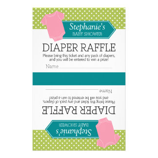 Cut in Half for 2 Diaper Raffle Tickets Baby Girl Stationery
