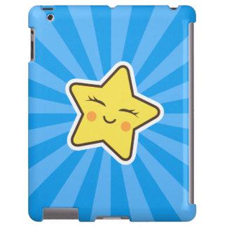 Cut kawaii cartoon star, blue sunburst background