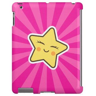 Cut kawaii cartoon star on hot pink sunburst