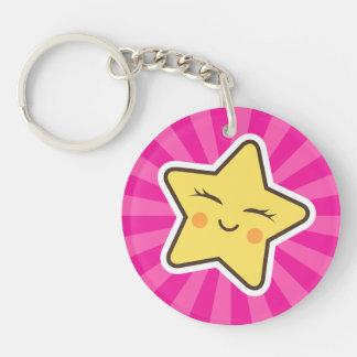Cut kawaii cartoon star on hot pink sunburst keychain