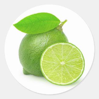 Cut lime classic round sticker