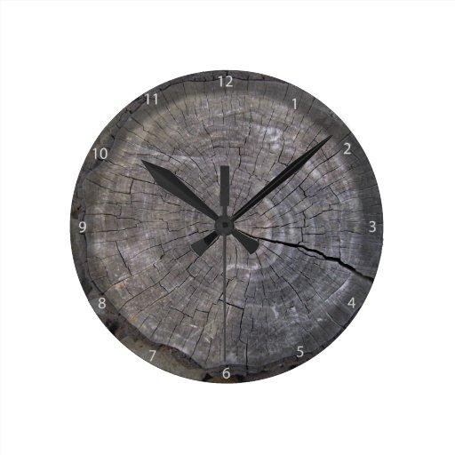 Cut Log Woodgrain Background Texture Round Wall Clocks