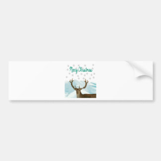 Cut Out Art Deco Deer with Snowflakes Christmas Bumper Sticker
