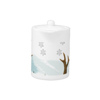 Cut Out Art Deco Deer with Snowflakes Christmas Teapot