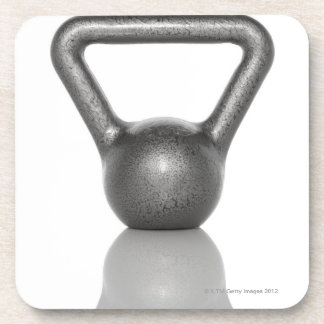 Cut out of a kettle bell on white background beverage coaster