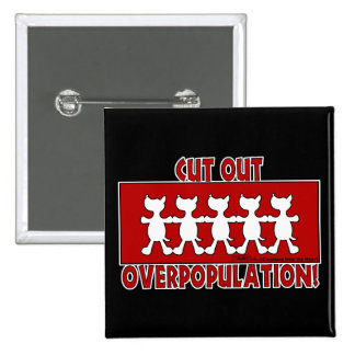 Cut Out Overpopulation! Dogs Pinback Button