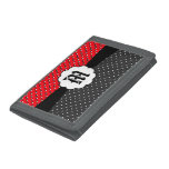 Cut out red and grey polka dots wallet
