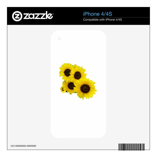Cut Out Sunflowers Skin For iPhone 4