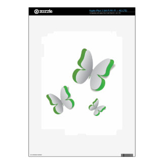 Cut out white paper butterfly iPad 3 decals