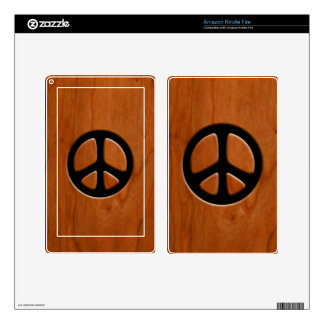 Cut-Out Wood Peace Kindle Fire Decals