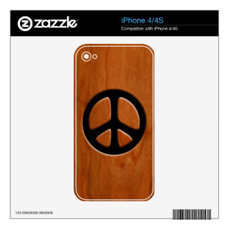Cut-Out Wood Peace Skins For The iPhone 4S