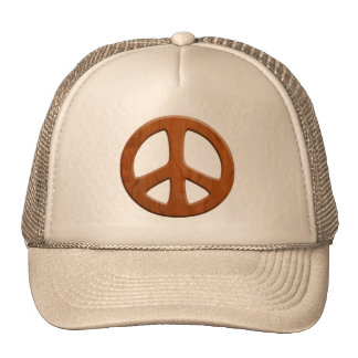 Cut-Out Wood Peace Trucker Hat