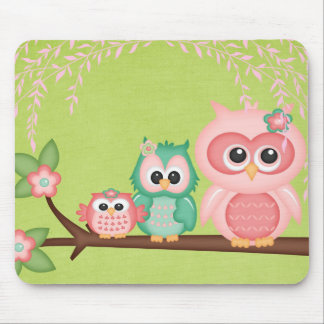Cut Owls Branch Pink Mint Green Birds Mouse Pad