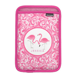 Cut Pair Of Pink Flamingos With Pink Swirls iPad Mini Sleeve