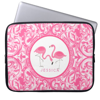 Cut Pair Of Pink Flamingos With Pink Swirls Laptop Sleeve