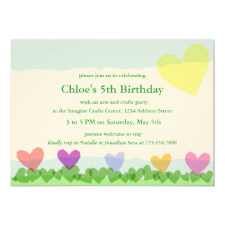 Cut Paper Hearts Sun and Flowers Birthday Party Card
