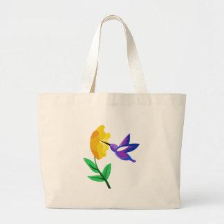 Cut Paper Hummingbird & Flower Large Tote Bag