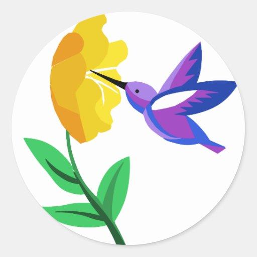 Cut Paper Hummingbird & Flower Round Sticker