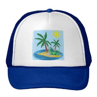 Cut Paper Island, Palms and Sun Mesh Hats