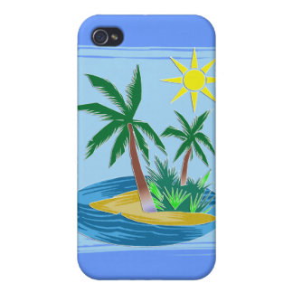 Cut Paper Island, Palms and Sun iPhone 4/4S Cover