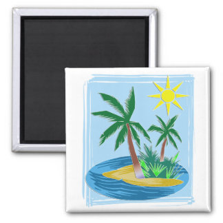 Cut Paper Island, Palms and Sun 2 Inch Square Magnet