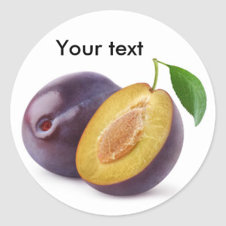 Cut plums classic round sticker