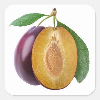 Cut plums square sticker