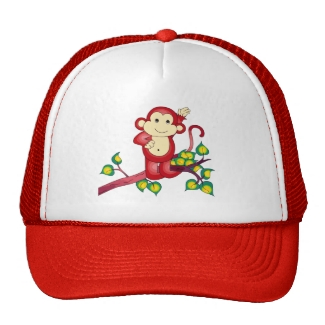 Cut Red Monkey Animal Hat