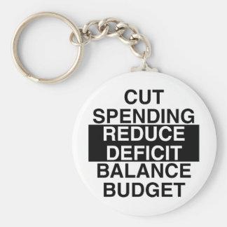 cut spending, reduce deficit, balance budget basic round button keychain