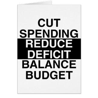 cut spending, reduce deficit, balance budget card